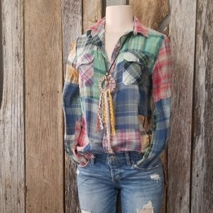 FREE PEOPLE ARTISAN DE LUXE PLAID BUTTON DOWN!